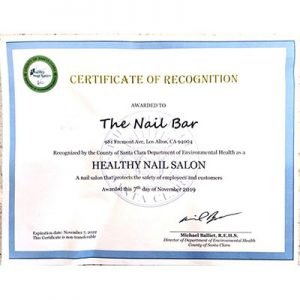 The Nail Bar is a County of Santa Clara Healthy Nail Salon